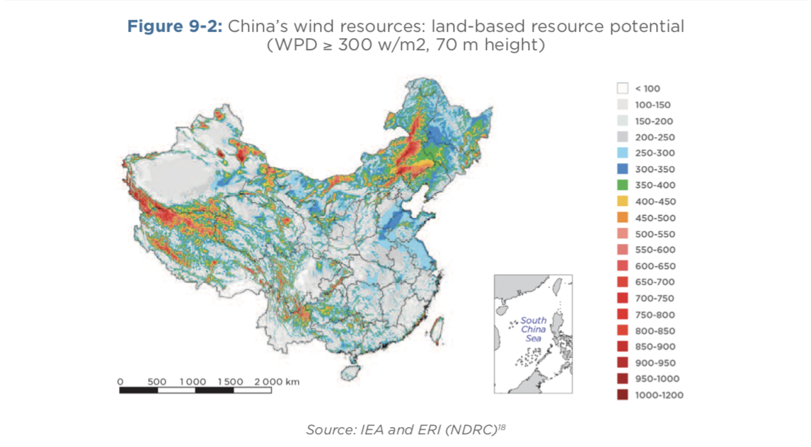 China's wind resources: land-based resource potential (WPD ≥ 300 w/m2, 70 m height)